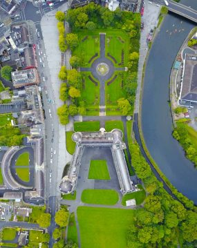 drone aerial photography production of Kilkenny castle rose gardens