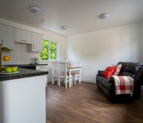 skyclad homes kitchen and living area photography production