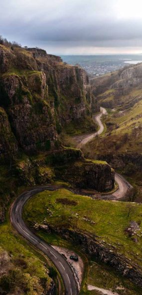 drone aerial photography through a valley in Ireland