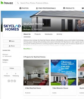 skyclad homes houzz page screenshot graphic design