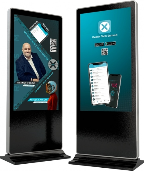 lcd digital signage free standing totem display screen for event branding