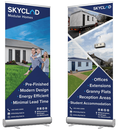 skyclad ltd rollup popup display banners graphic design
