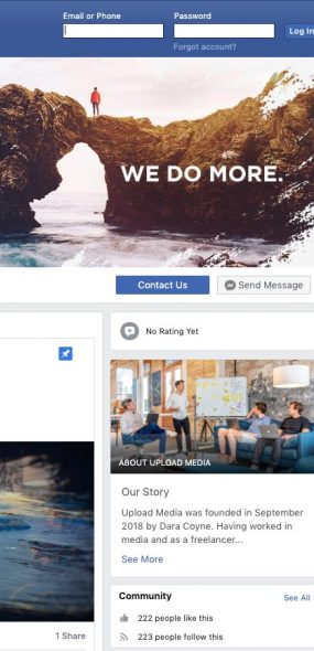 upload media facebook page screenshot graphic design